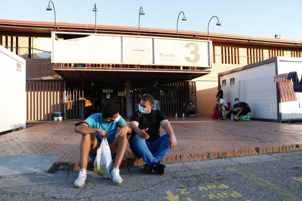 Temporeros en Lérida en julio de 2020.