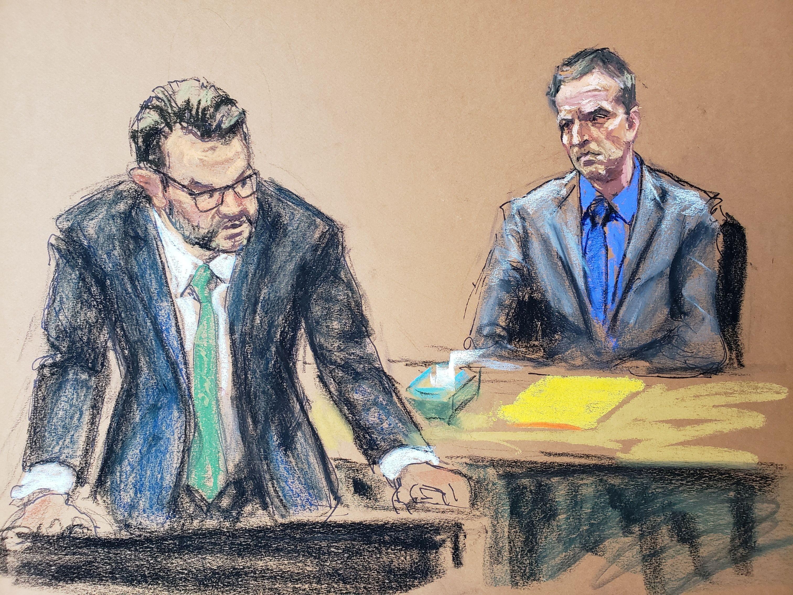Dibujo del juico en el que se ve al abogado defensor, Eric Nelson, y al acusado de la muerte, Derek Chauvin.