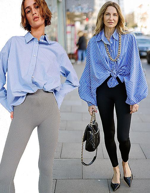 Mallas grises (15,95 ¤), de Zara. La diseñadora Sue Giers combina la camisa de SoSue con mallas de la firma Norba, bolso de Chanel y zapatos de Prada.