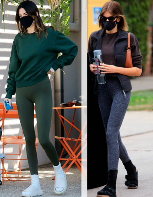 Kendall Jenner y Kaia Gerber dos de las precursoras de ir en mallas todos los días.