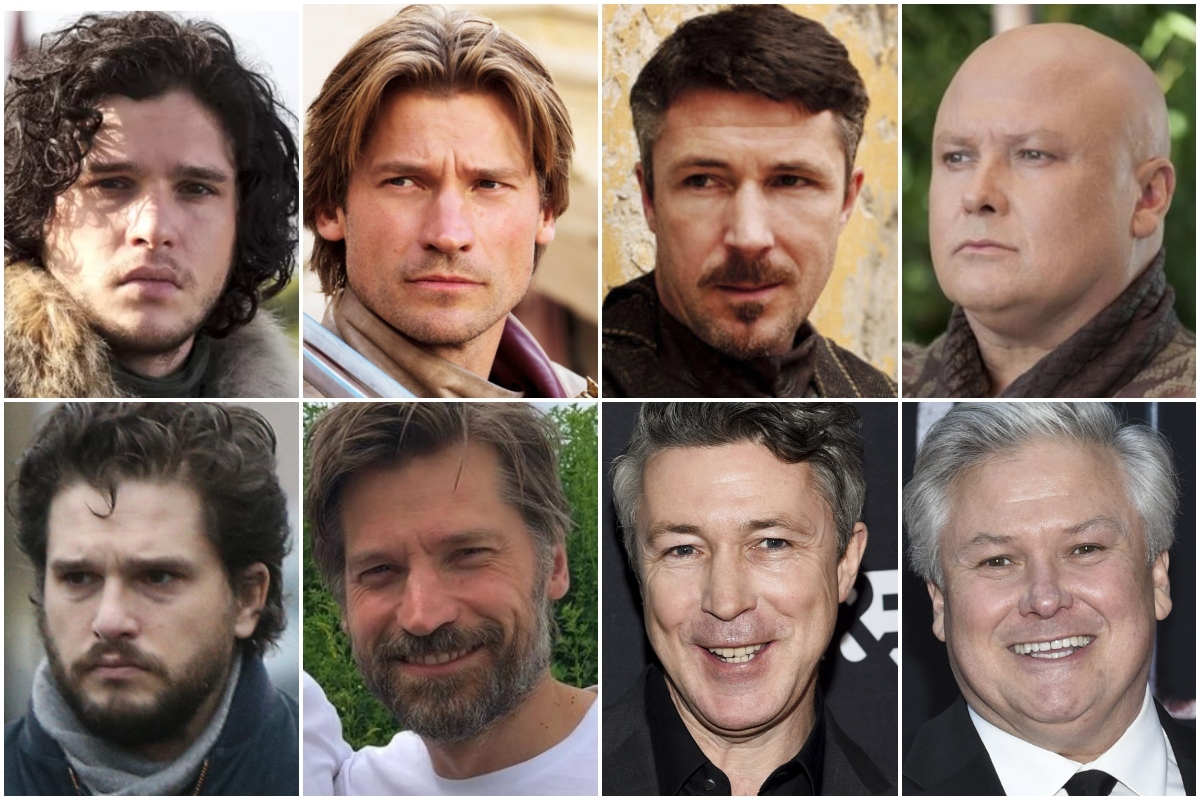 De izquierda a derecha, el antes y el ahora de Kit Harington, Nikolaj Coster-Waldau, Aidan Gillen y Conleth Hill.