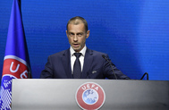Ceferin, durante un acto de la UEFA.