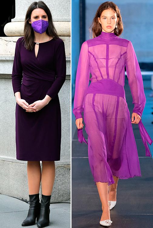Irene Montero con un vestido morado, color de Podemos. Look de desfile de primavera-verano 2021.