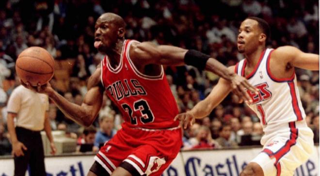 Jordan, durante un partido de la temporada 95/96.