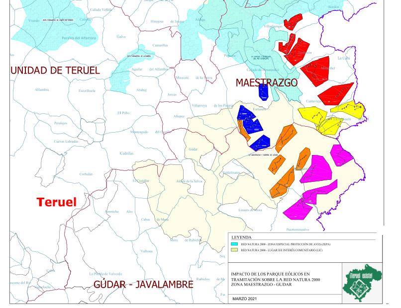 Mapa de los proyectos de renovables en los que ha presentado alegaciones Teruel Existe en la provincia de Teruel.