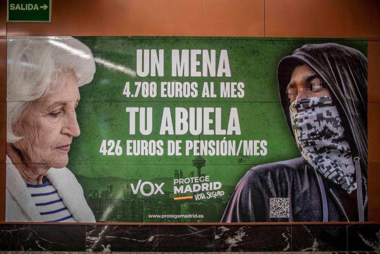 El cartel de Vox investigado por la Fiscalía de Madrid.
