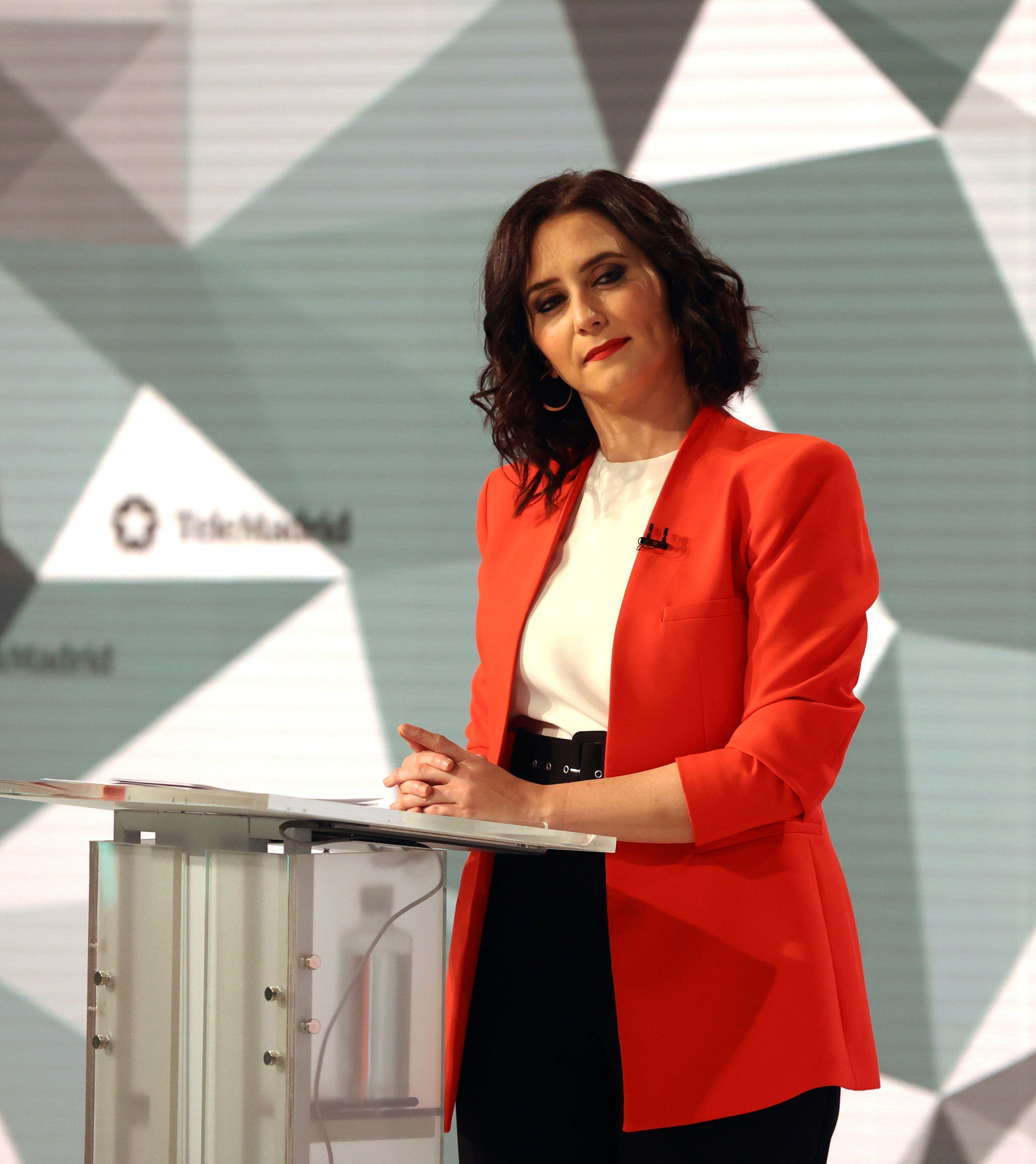 Isabel Díaz Ayuso, candidata del PP, durante el debate.