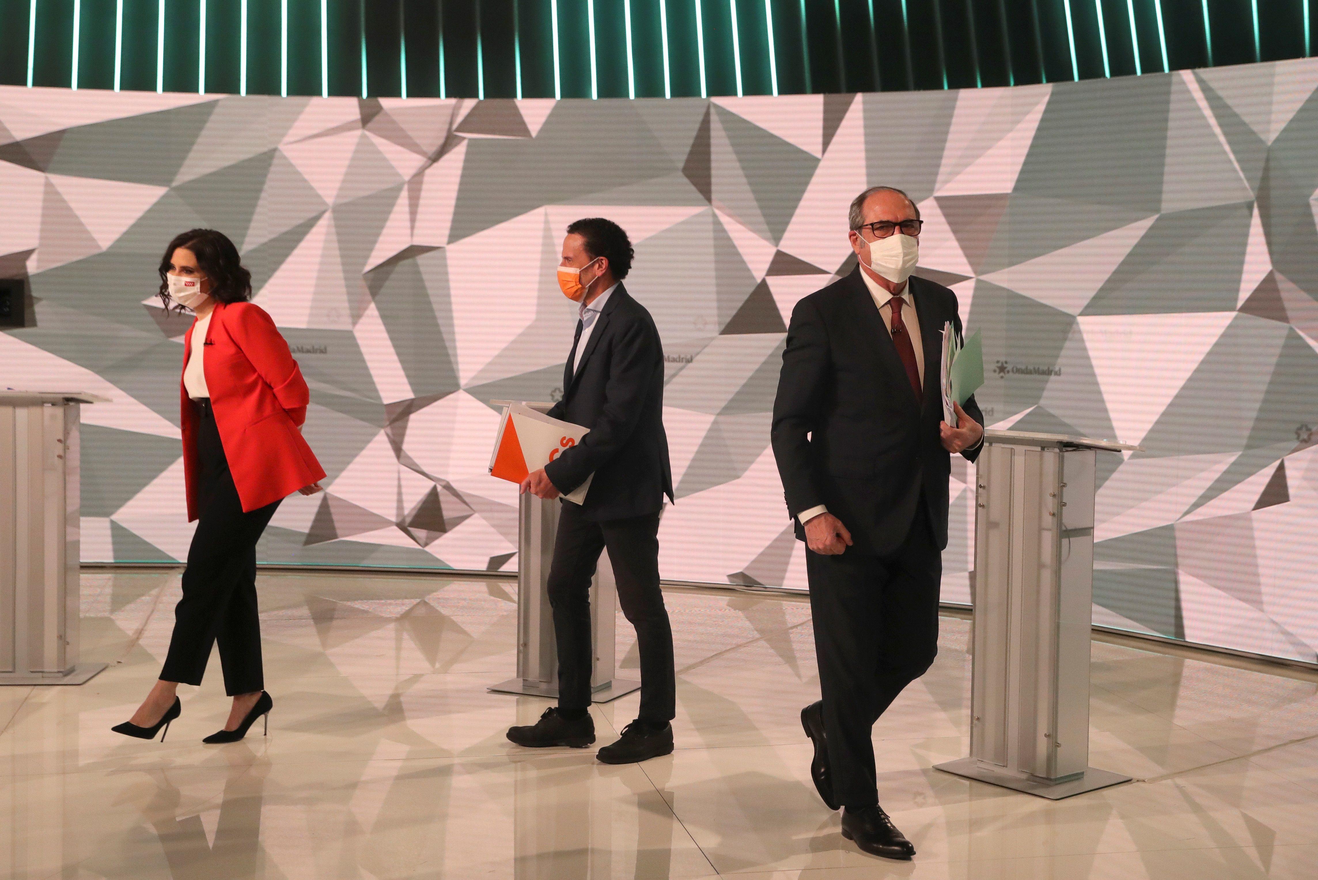 Ayuso, Bal y Gabilondo en el debate.