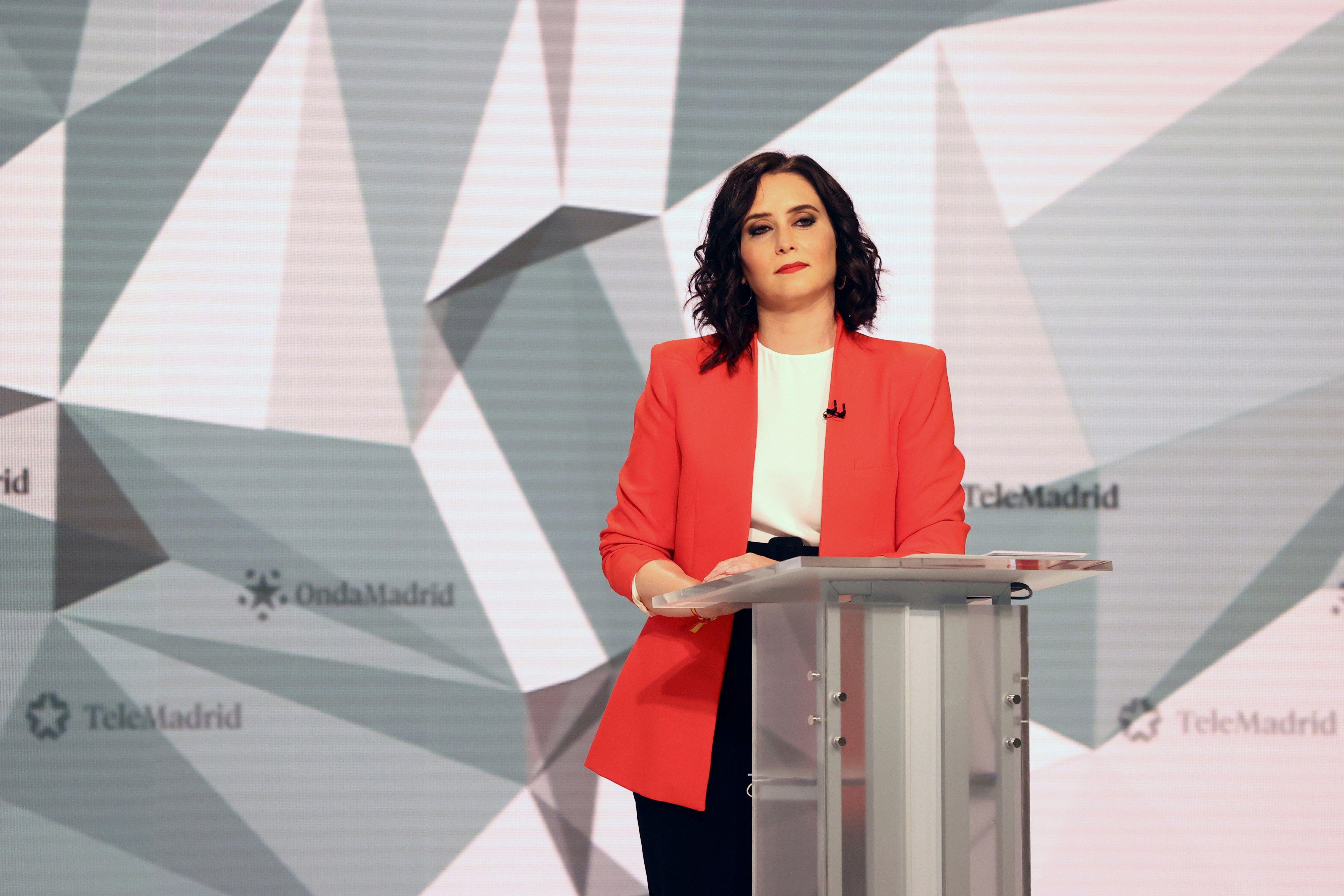 Isabel Díaz  Ayuso, durante el debate electoral.