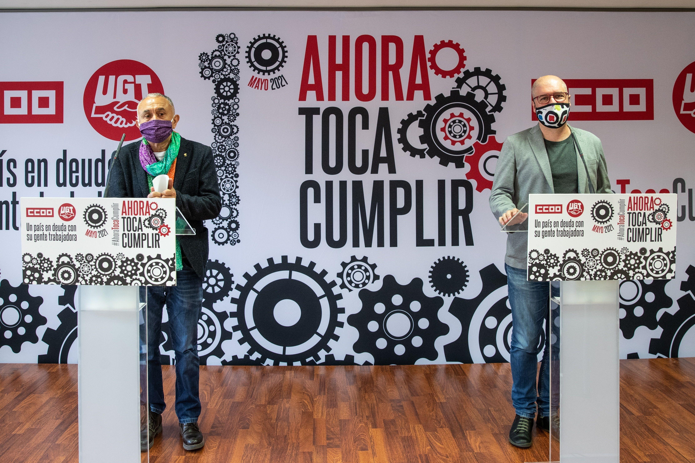 Pepe Álvarez, secretario general de UGT, y Unai Sordo, secretario genral de CCOO en la presentación de los actos del 1 de mayo.