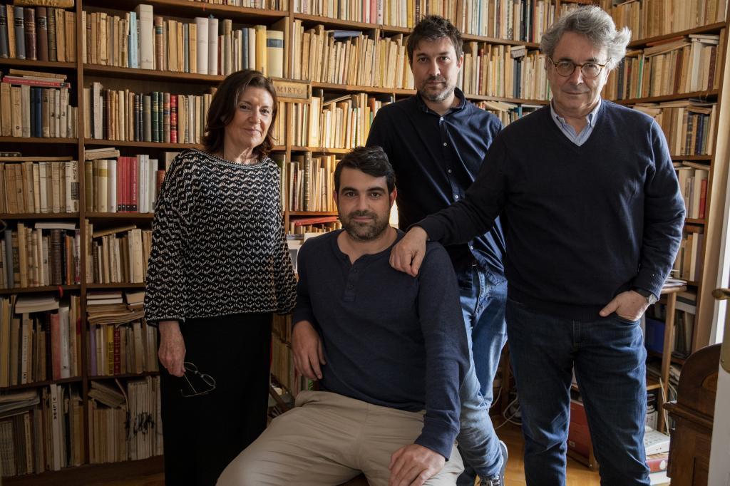 Miriam Moreno, Guillermo, Rafael y Andrés Trapiello en Madrid.
