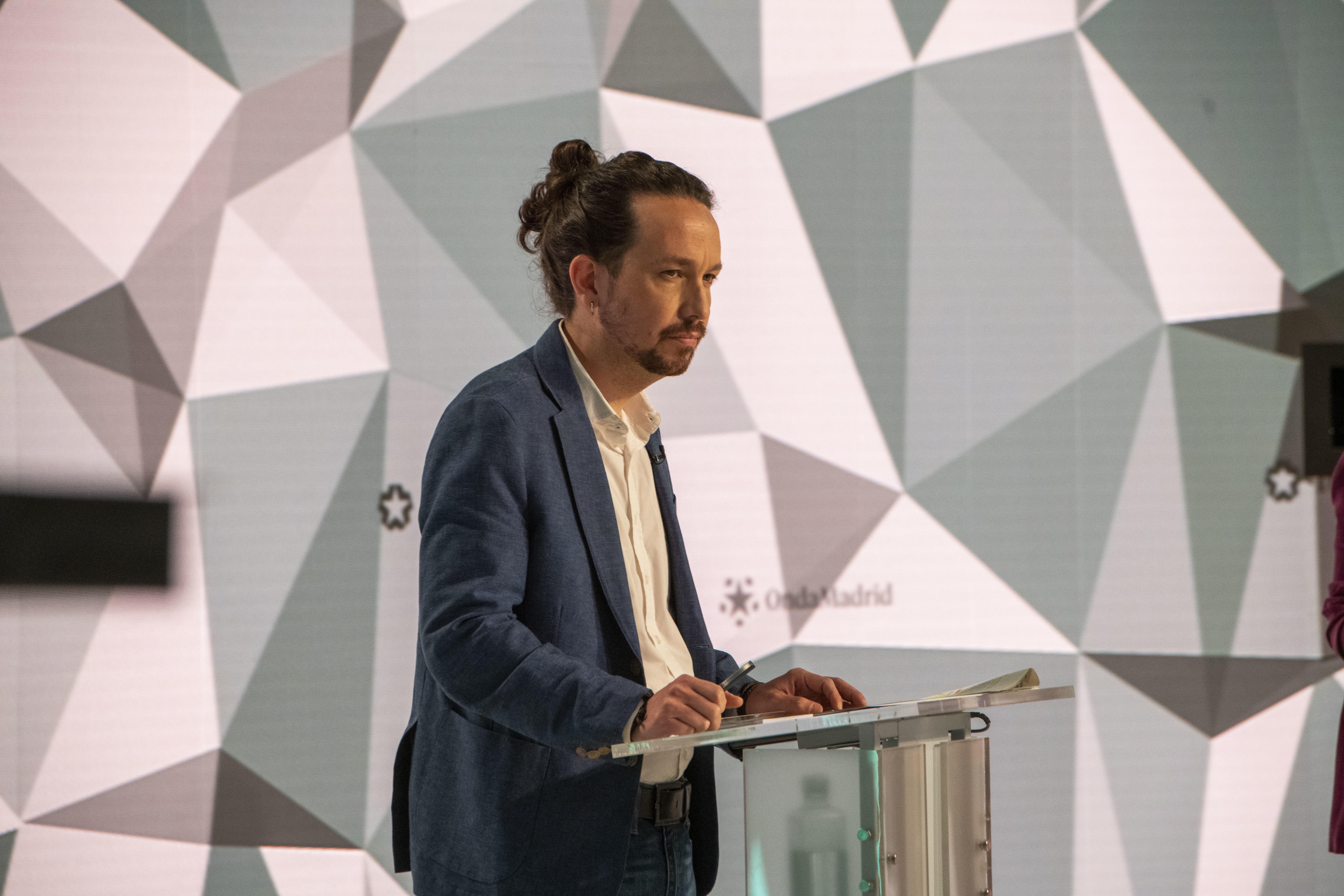 Pablo Iglesias, durante  el debate en Telemadrid.