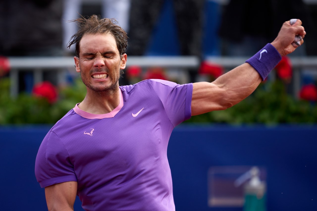 Nadal celebra su victoria ante Nishikori.