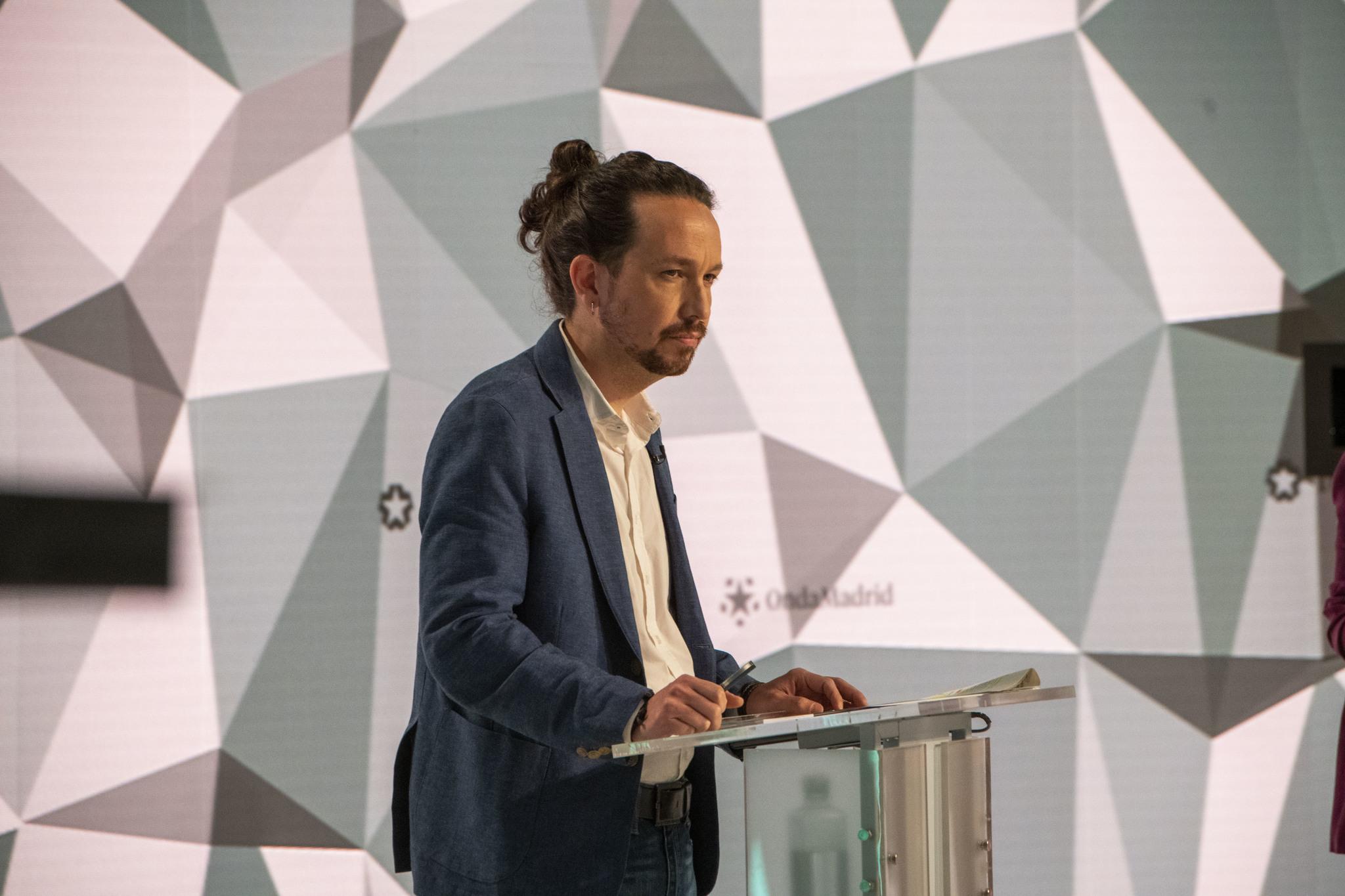 Pablo Iglesias, en el debate de Telemadrid.