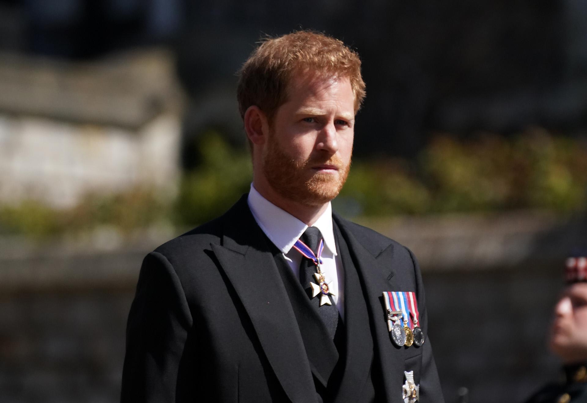 El príncipe Harry, en el reciente funeral por su abuelo.