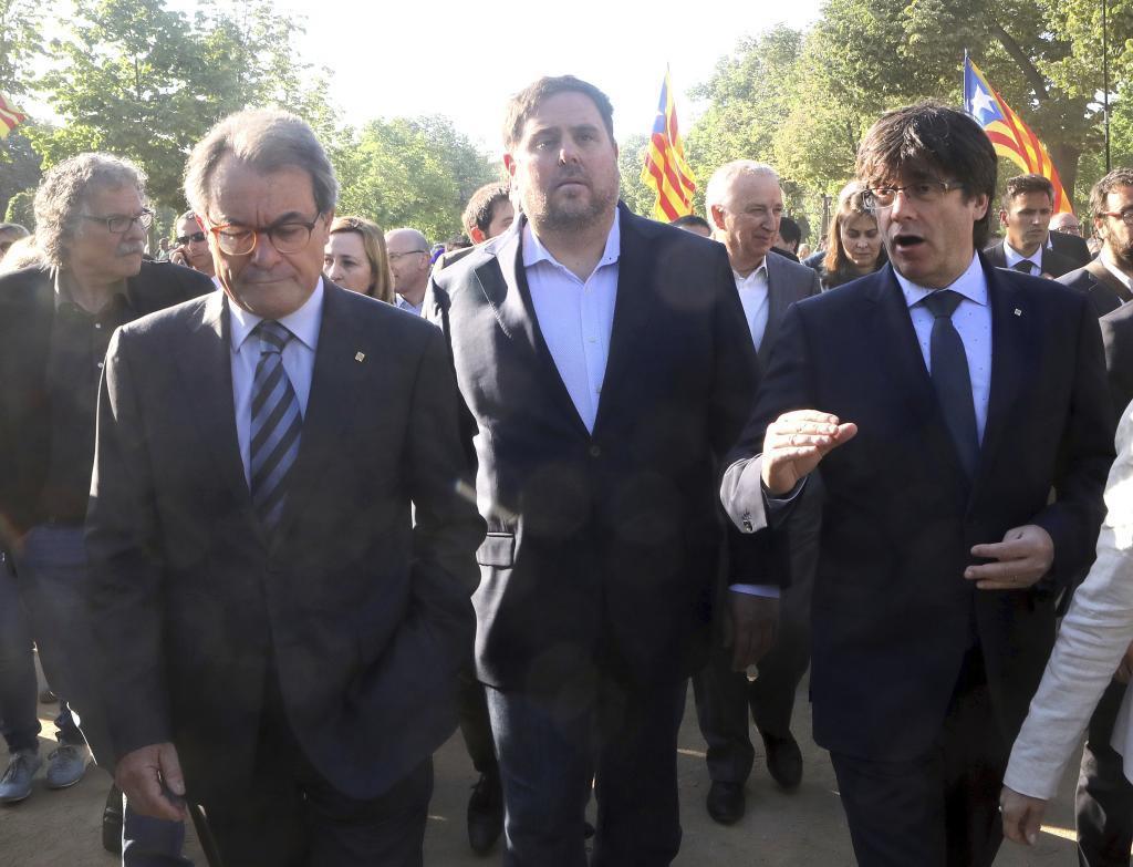 Artur Mas, Oriol Junqueras y Carles Puigdemont, en 2017.