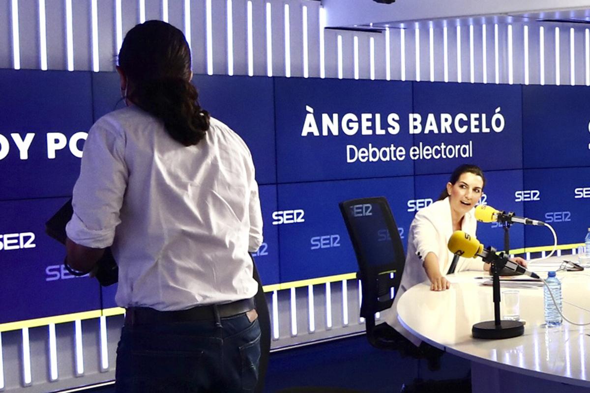 Rocío Monasterio y Pablo Iglesias, en el debate.