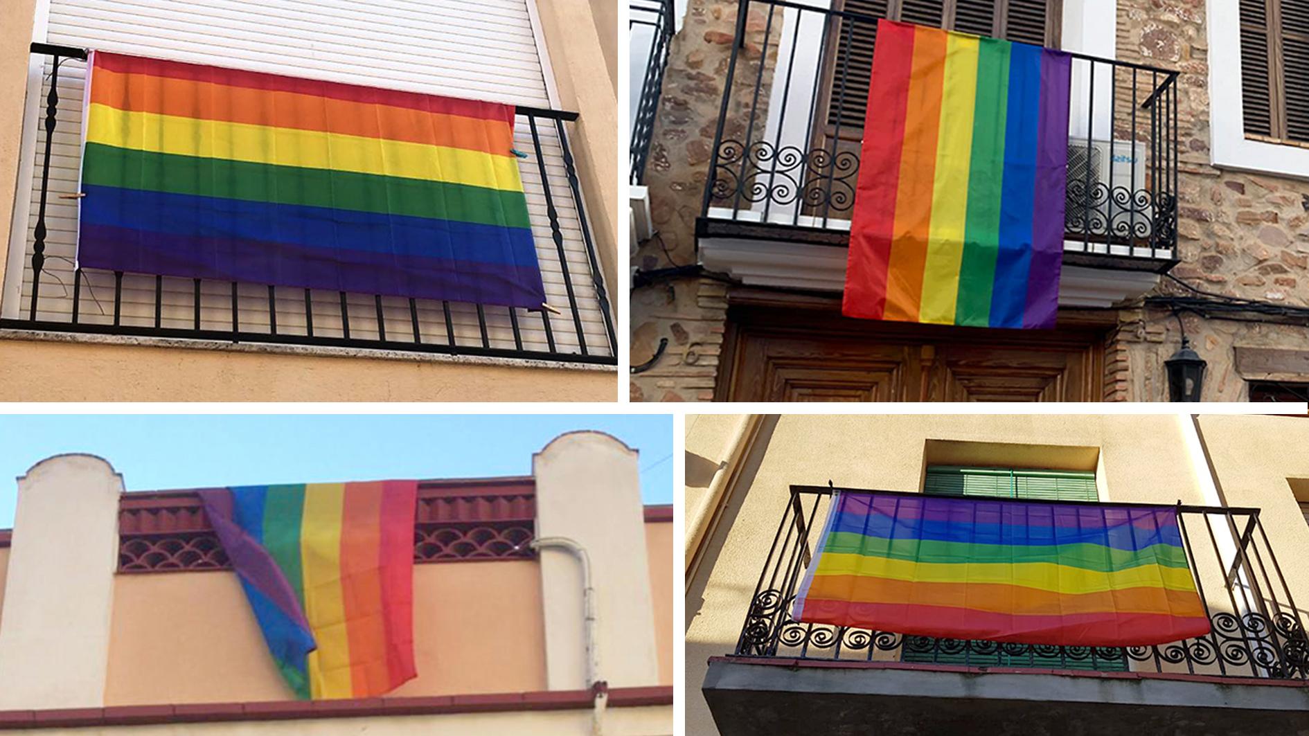Varias viviendas de la Vilavella lucieron ayer una bandera arcoiris a modo de protesta.