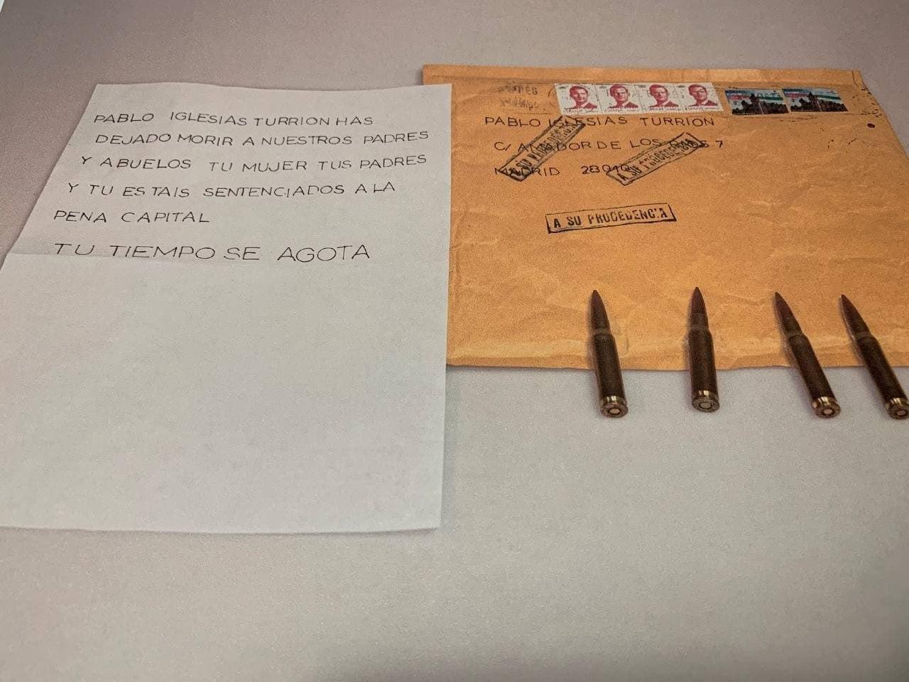 Carta recibida por Pablo Iglesias.