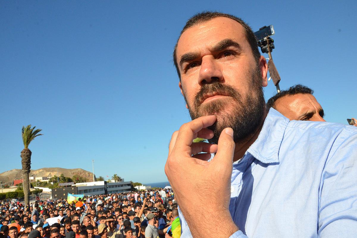 Nasser Zefzafi, en una protesta en Alhucemas en 2017.
