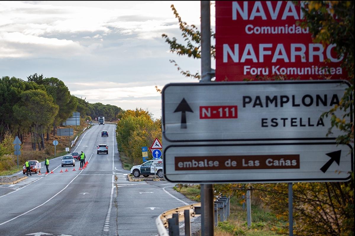 Control de la Guardia Civil entre Navarra y La Rioja.