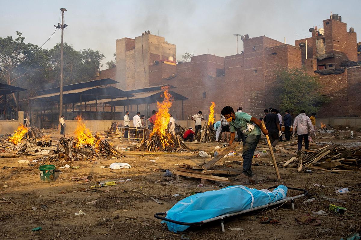Cremaciones en Nueva Delhi.