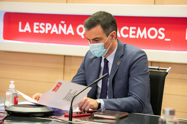 El  presidente del Gobierno,  Pedro Sánchez, este lunes en la sede del PSOE.