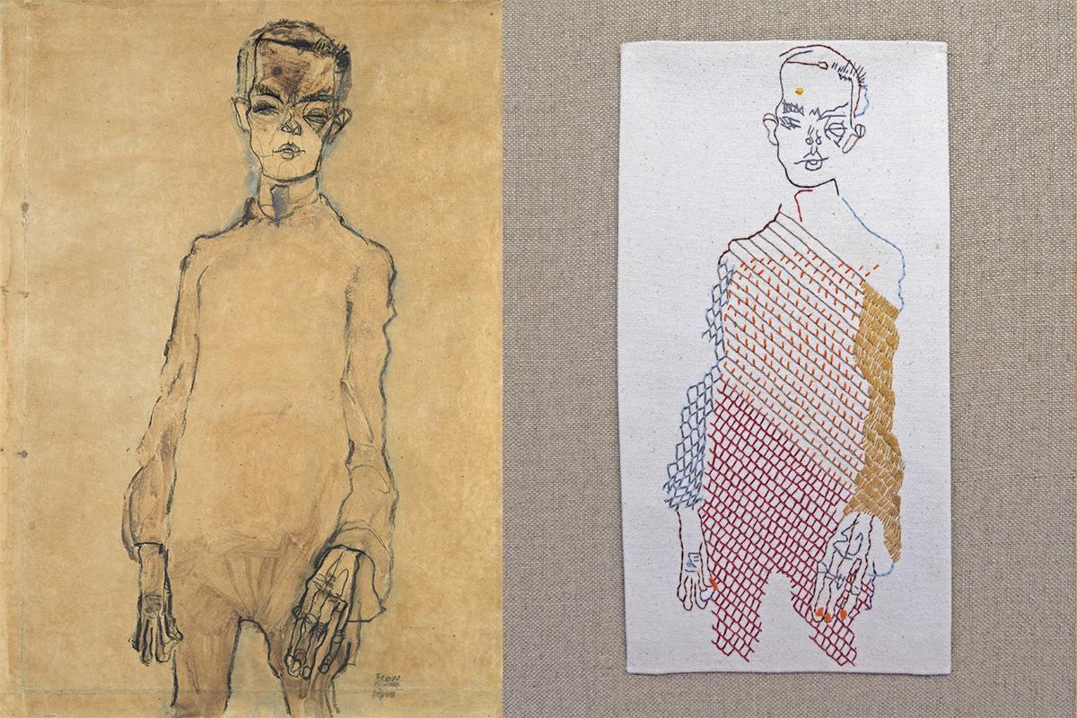 Propuesta de Alba Galocha (dcha.) inspirada en el autorretrato de Egon Schiele (1910).