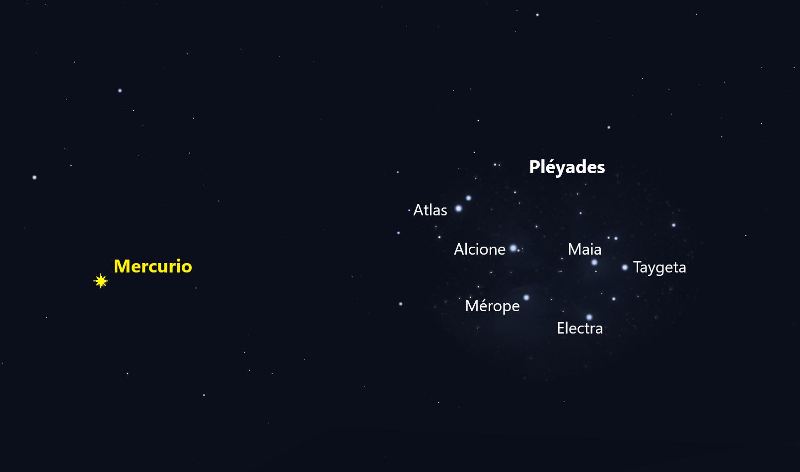 Mercurio con las Pléyades en el crepúsculo del 4 de mayo