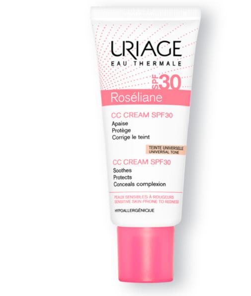 Todo sobre la rosácea: qué es y qué tratamientos funcionan: CC Cream Roséliane spf 30 de Uriage