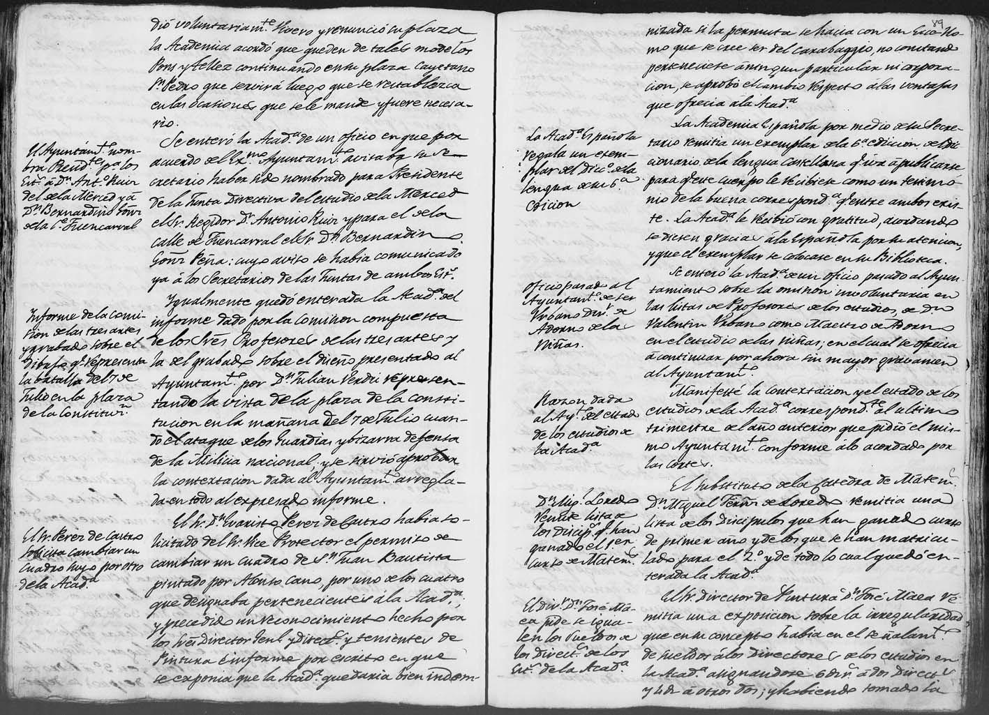 Documento de la permuta de la Real Academia.