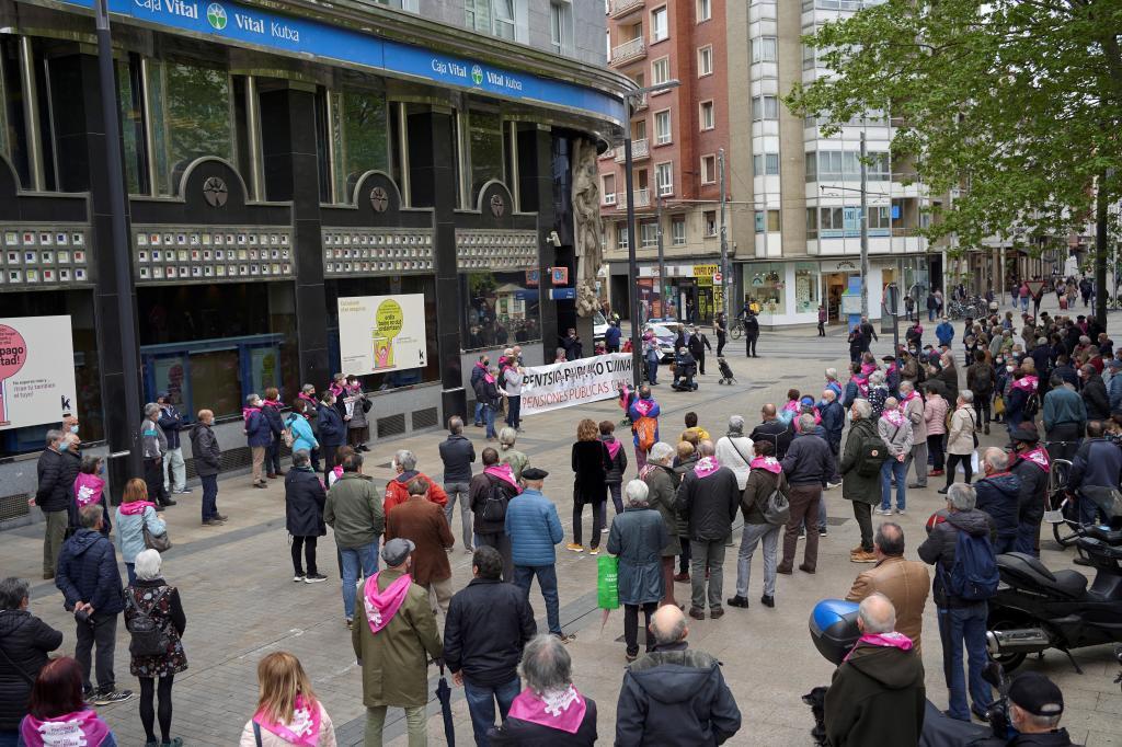 Manifestación de pensionistas celebrada esta semana en Vitoria.