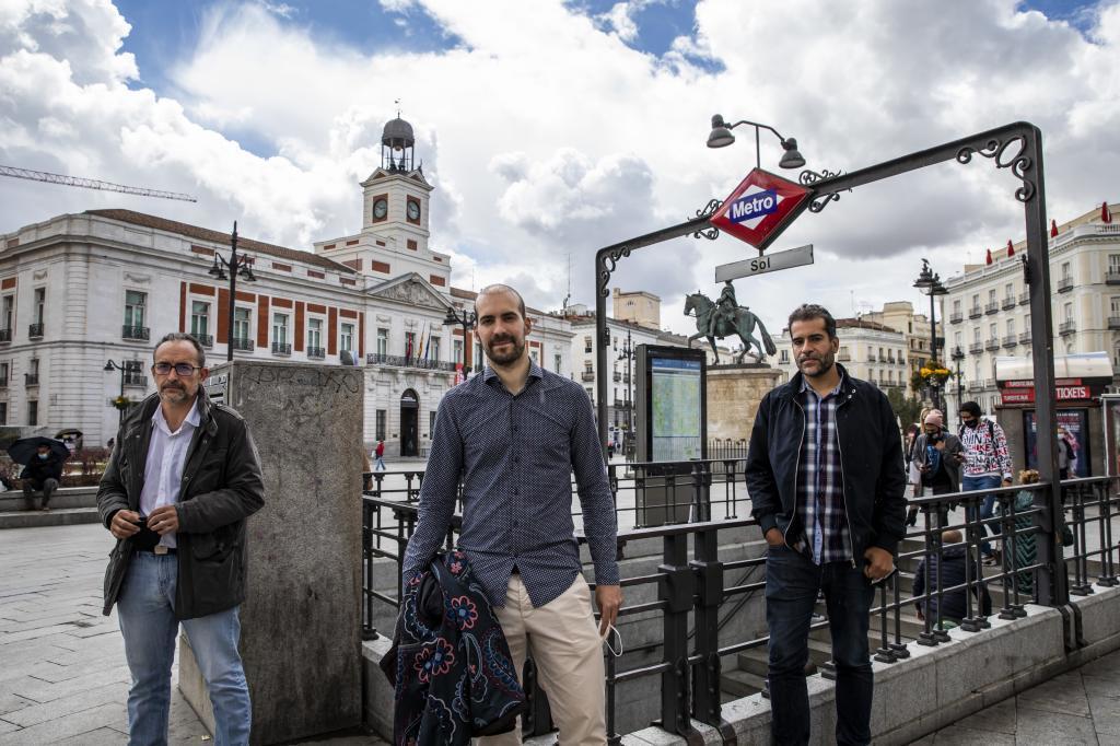 Chema Ruiz, Pablo Gallego y Fabio Gándara, en Sol, el pasado día 22.