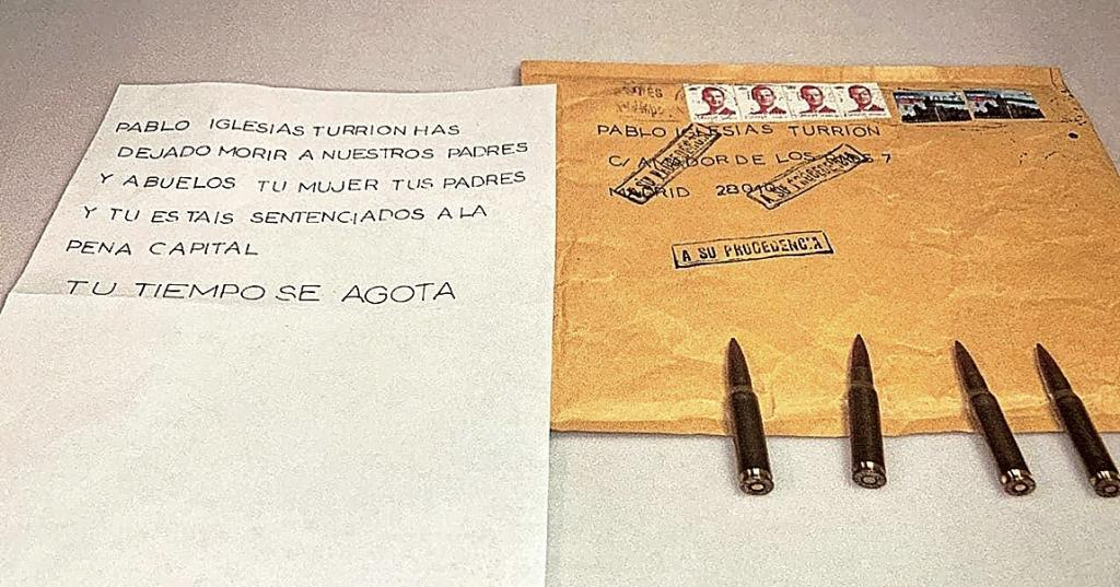 El sobre con balas remitido a Pablo Iglesias.