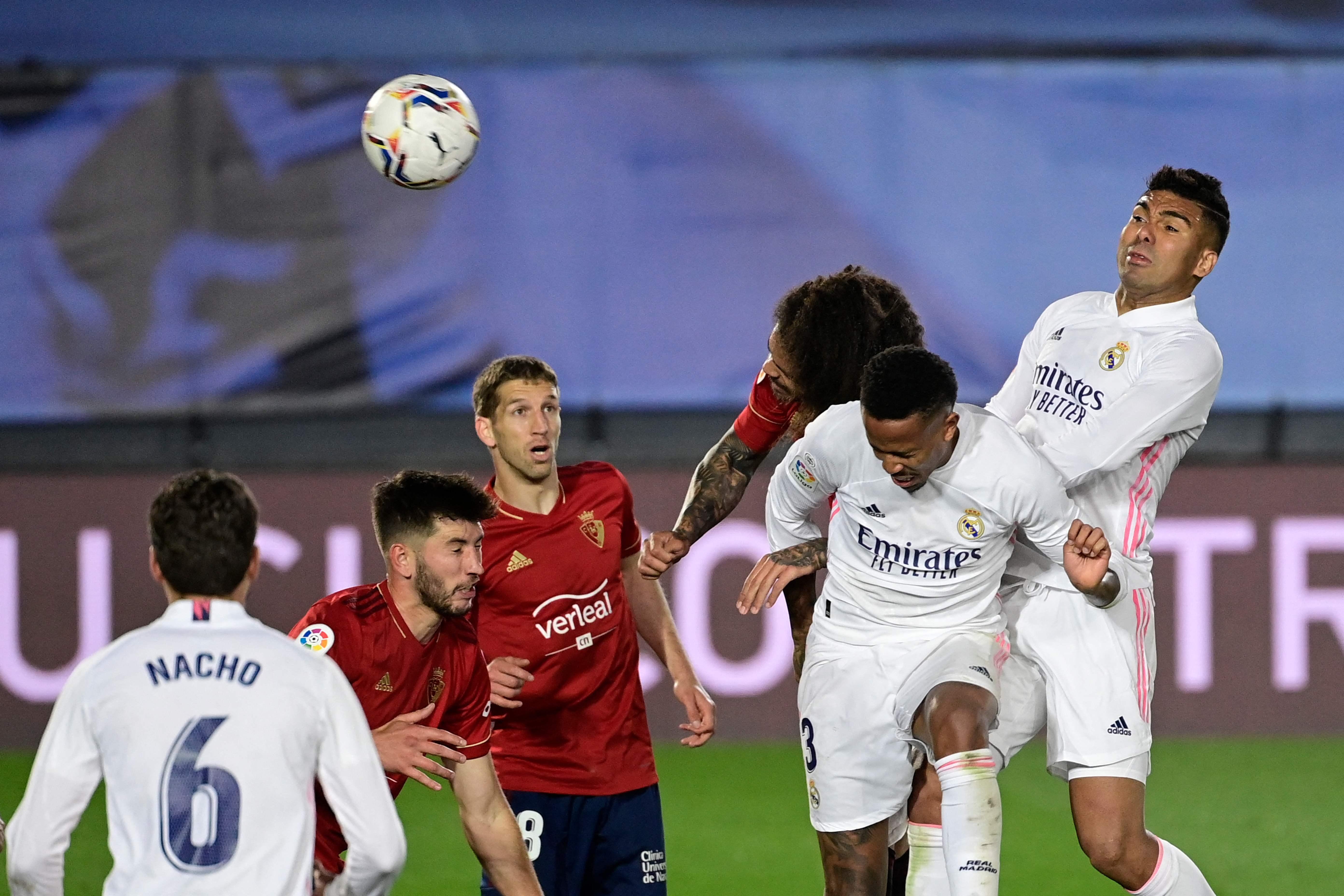 Militao, en el primer tanto del Madrid ante Osasuna.
