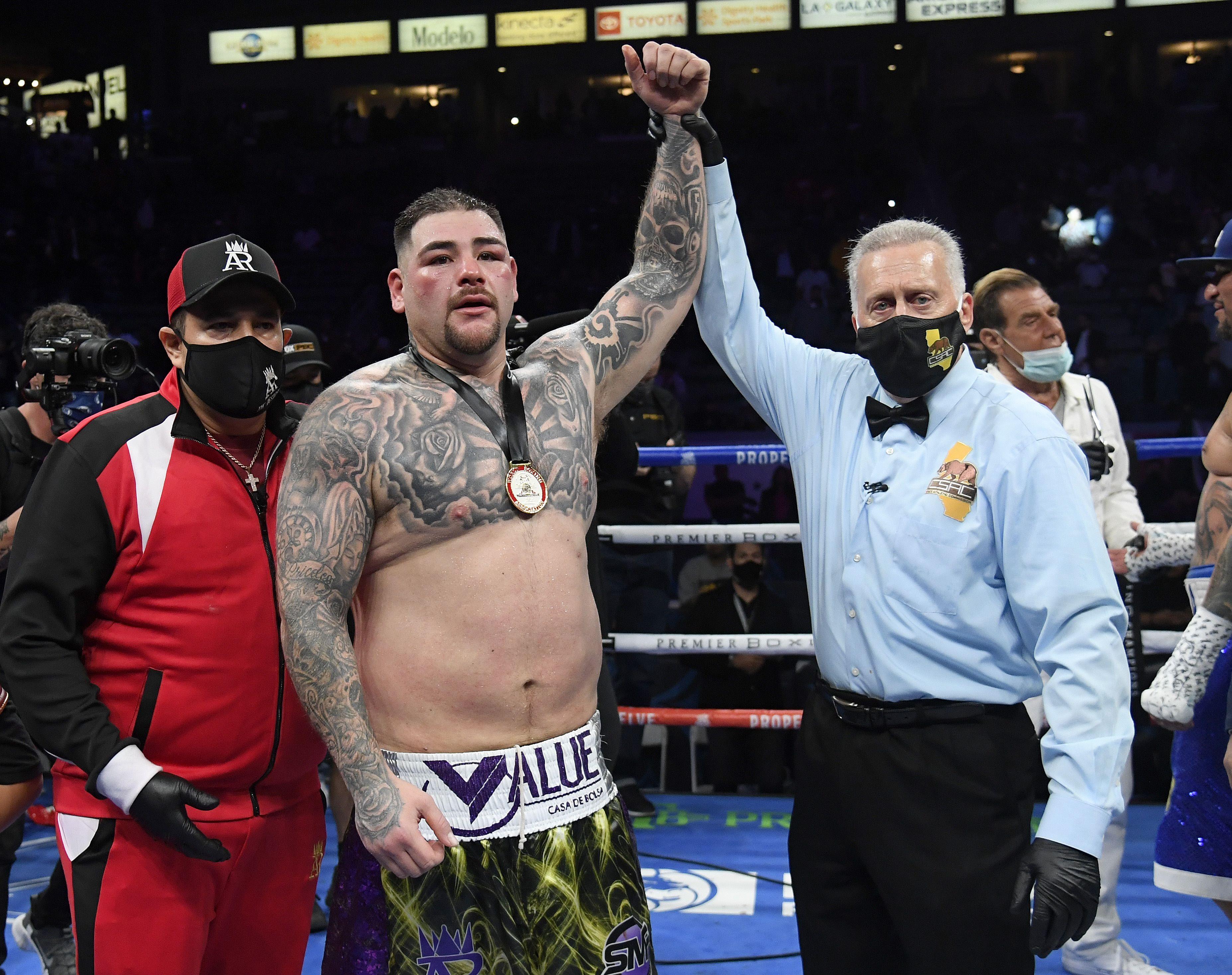 Andy Ruiz, tras su victoria.