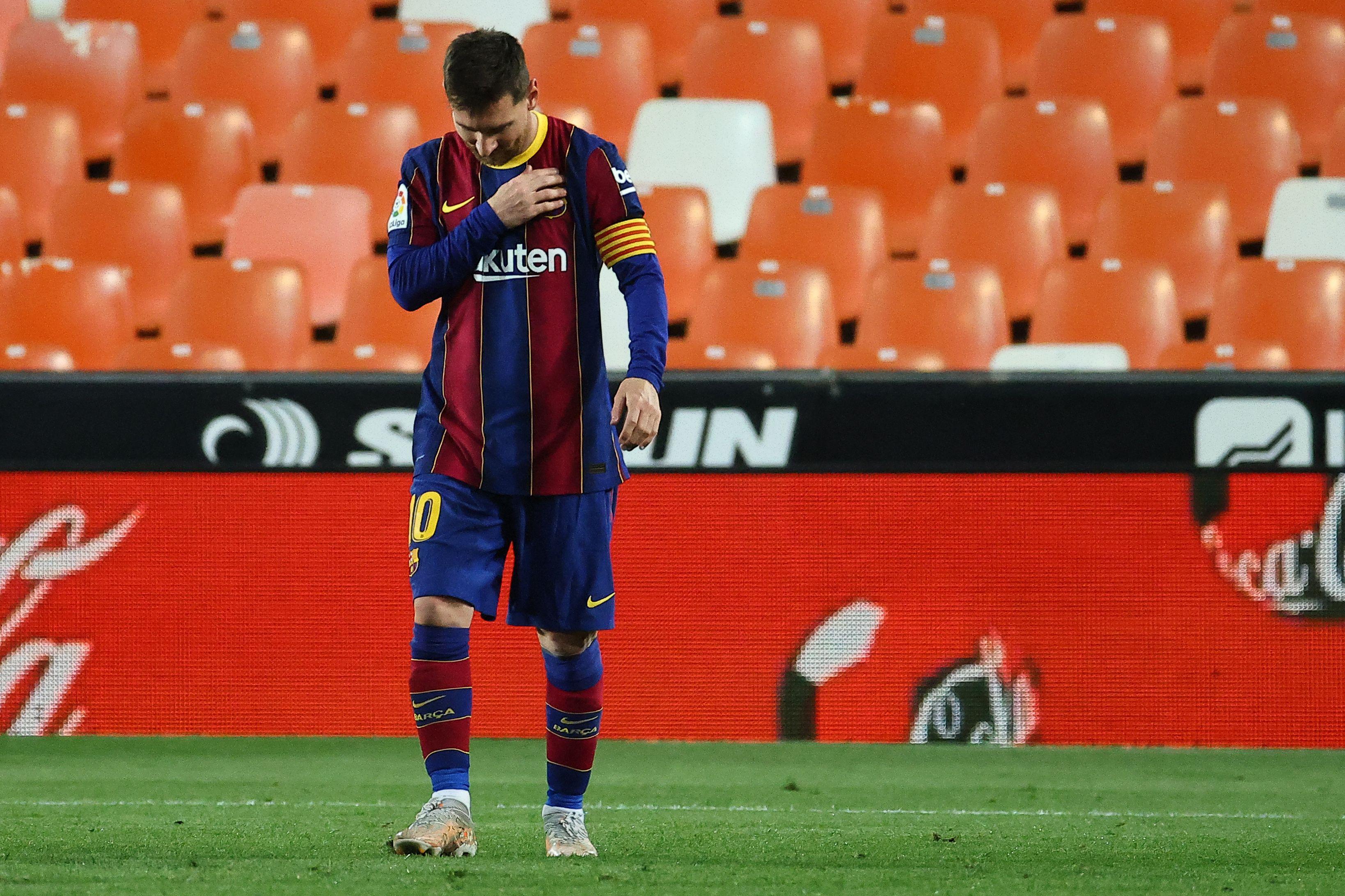 Leo Messi, este domingo en Mestalla.