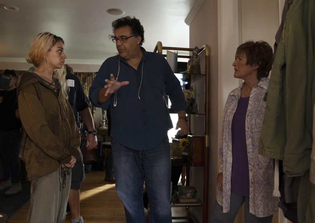 Mila Kunis, Rodrigo García y Glenn Close en el rodaje de '4 días'.