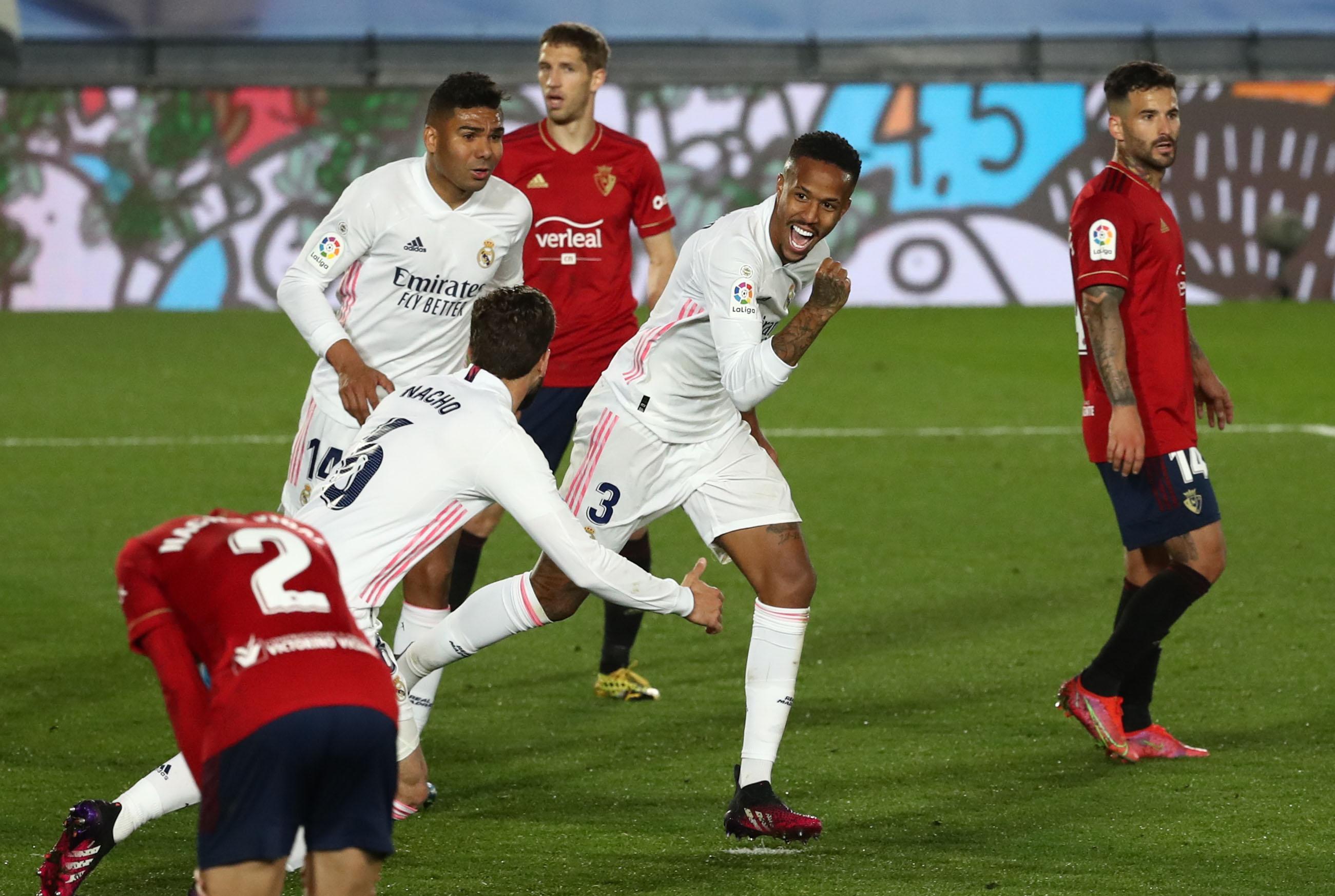 Militao celebra su gol a Osasuna.