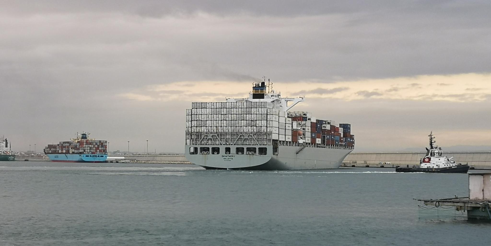 El Skiathos I y el Maersk UTAH, al fondo, atracados en el muelle norte del Puerto de Valencia.