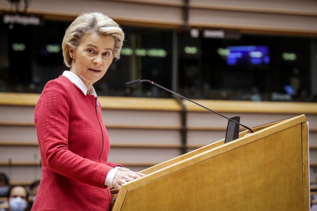 Ursula von der Leyen, en un pleno en el Parlamento Europeo.