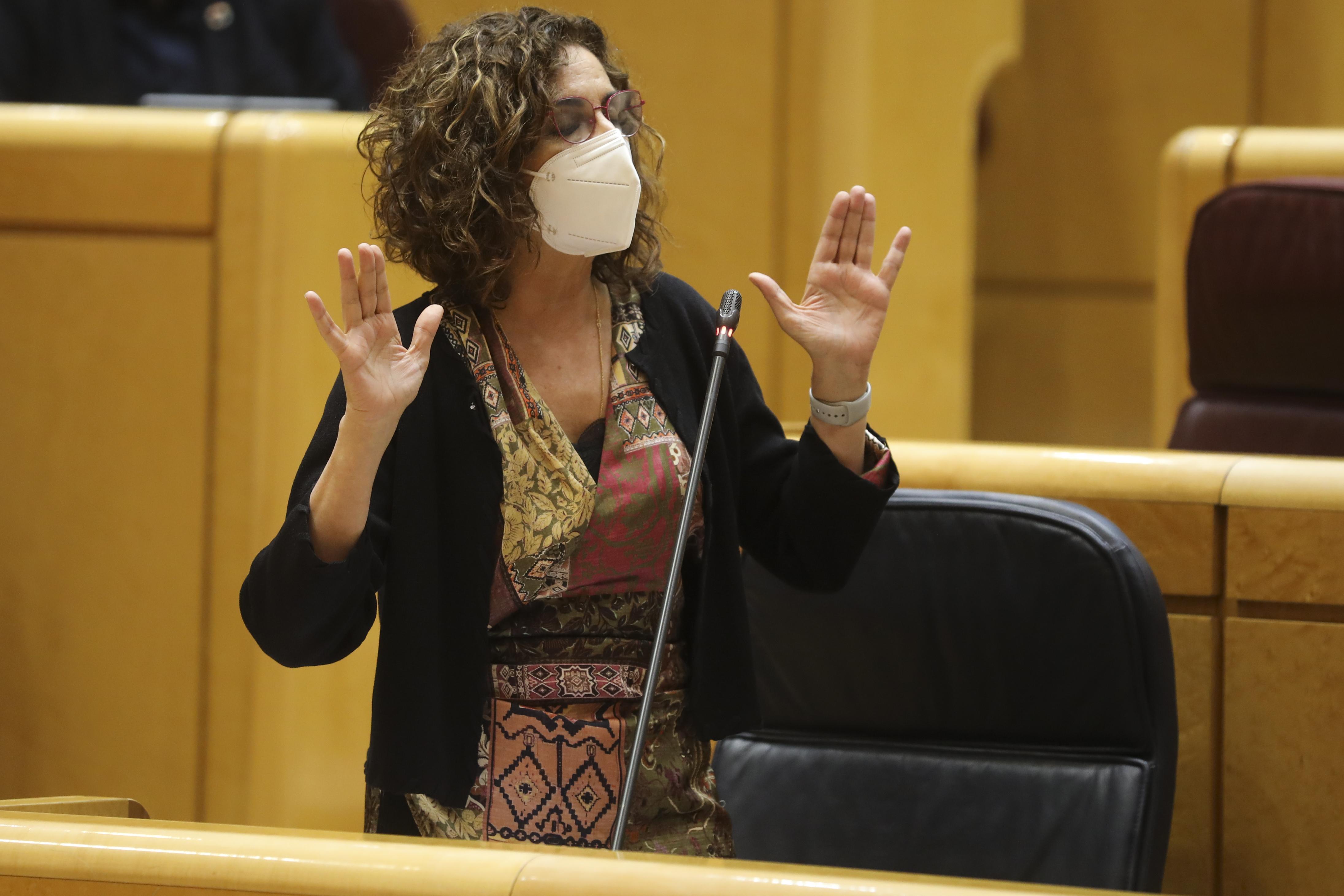 La ministra de Hacienda, María Jesús Montero, el pasado día 27 en el Senado