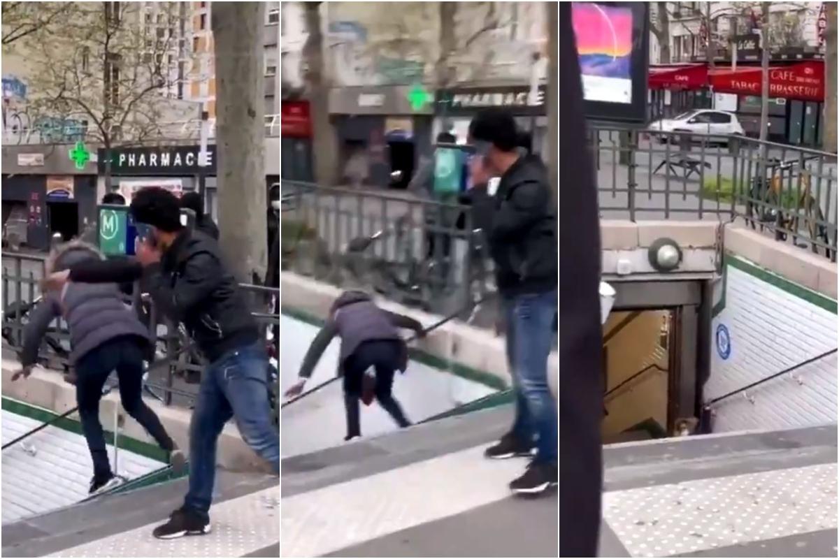 Un hombre de nacionalidad española tira a una mujer por las escaleras del metro en París.
