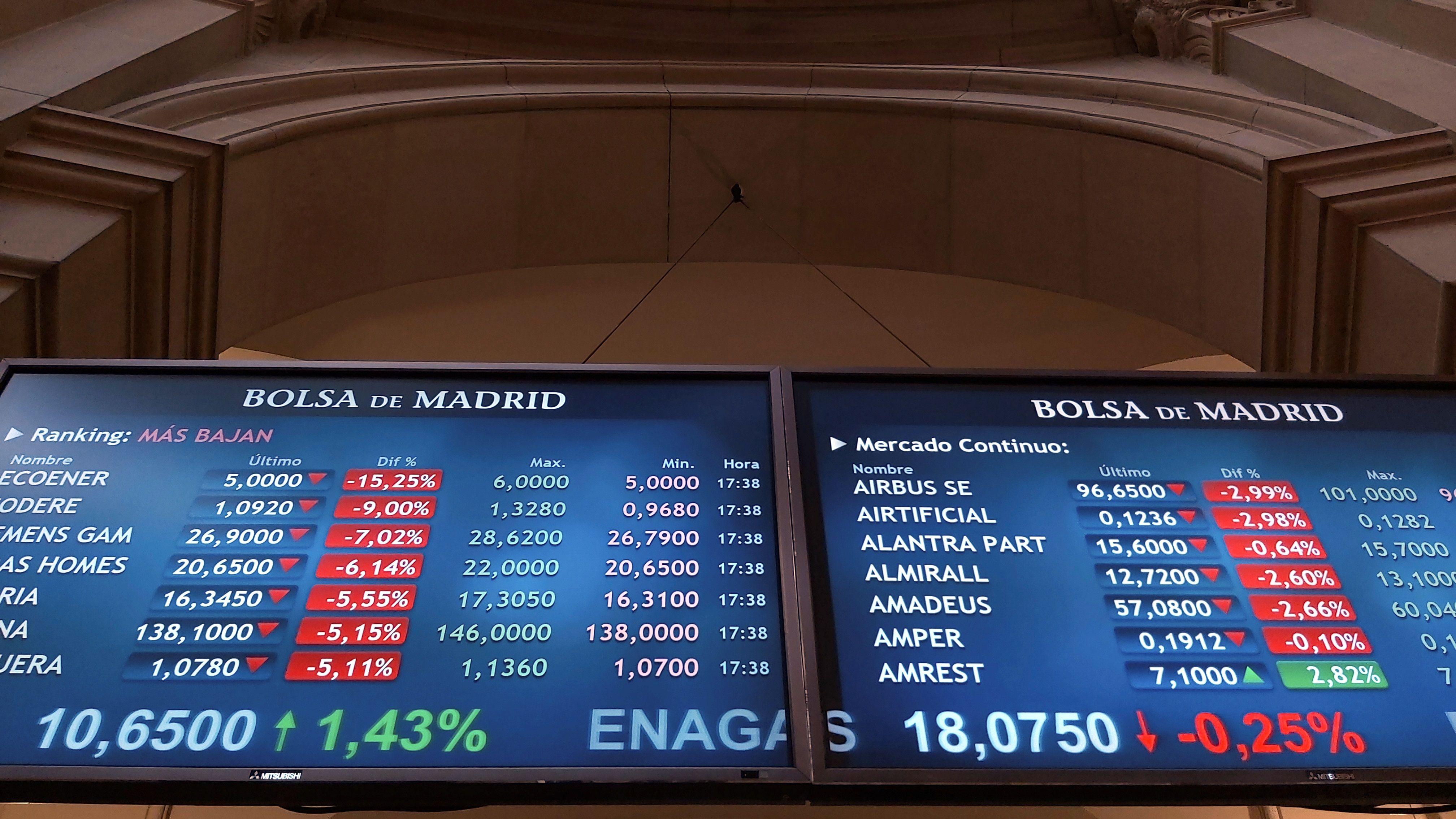 Paneles de cotización en el Palacio de la Bolsa de Madrid.