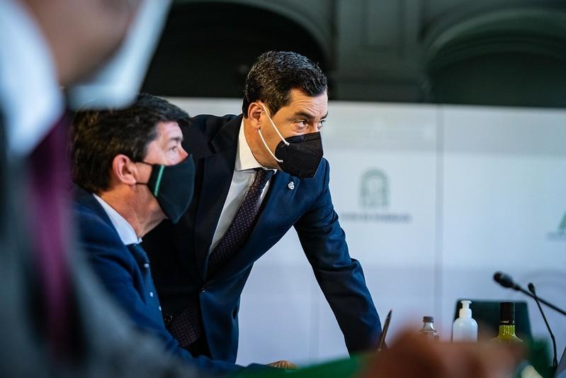 Juanma Moreno y Juan Marín, durante el último Consejo de Gobierno.