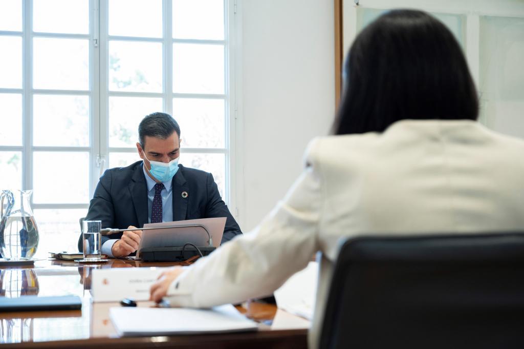 Pedro Sánchez, el martes, en la reunión del seguimiento del coronavirus.