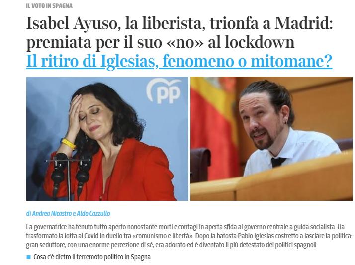 La información en 'Il Corriere della Sera' sobre el triunfo de Ayuso y la retirada de Iglesias