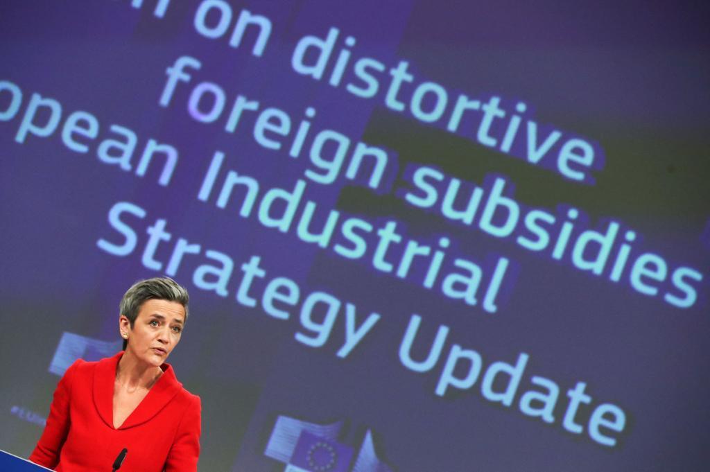Margrethe Vestager en una rueda de prensa