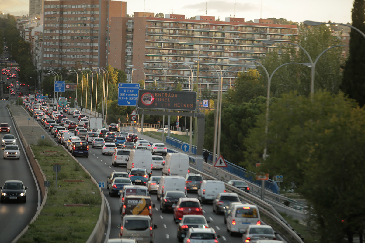 Un atasco de tráfico en Madrid.