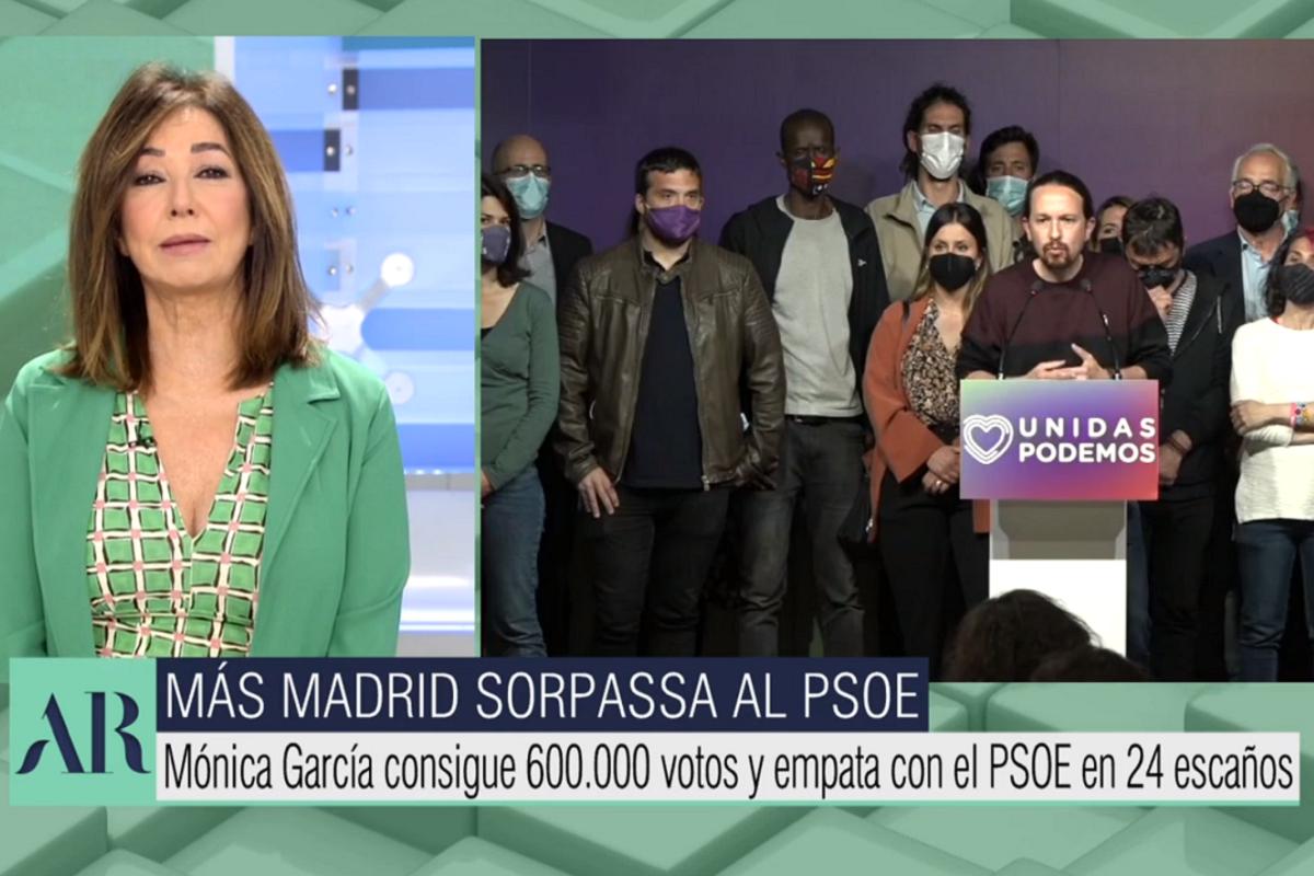 Ana Rosa Quintana celebra el adiós de Pablo Iglesias en El programa de Ana Rosa.